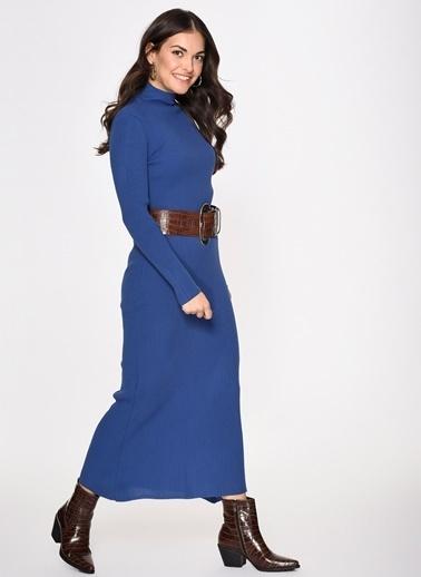 Loves You Yarım Balıkçı Triko Elbise İndigo